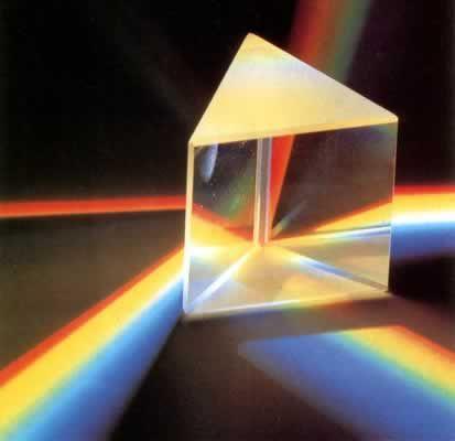 Треугольная призма делит световой поток пополам.  Не исключаю, из данной схемы не видно, что стороны призмы...